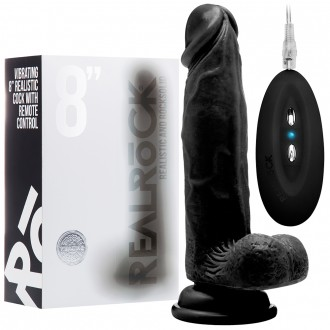 """REALROCK 8"""" REALISTIC VIBRATOR WITH TESTICLES BLACK"""
