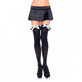 BLACK THIGH HIGHS WITH WHITE BOWS AND RUFFLES