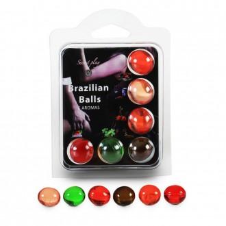 BOLAS LUBRIFICANTES BEIJÁVEIS BRAZILIAN BALLS MULTISABORES  6 x 4GR