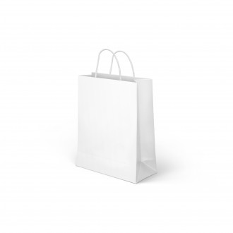 PAPER BAG WITH HANDLES WHITE 18 X 23 CM
