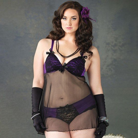 PLUS SIZE SHEER BABYDOLL WITH LACE AND PURPLE FABRIC DETAILS