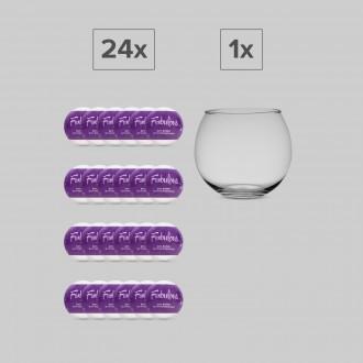 FUNBULOUS SET 24 BATH BOMBS + 1 GLASS GLOBE DISPLAY OBSESSIVE