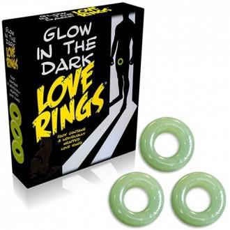 GLOW IN THE DARK LOVE RINGS 3 PACK