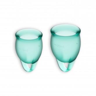 FEEL CONFIDENT 2 MENSTRUAL CUPS SET SATISFYER DARK GREEN