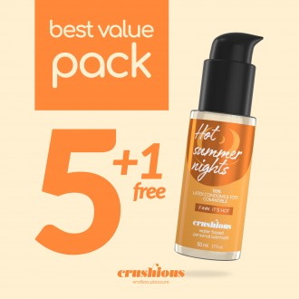 PACK OF 5 CRUSHIOUS WARMING EFFECT LUBRICANTS 50 ML + 1 FREE