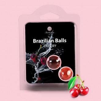 BOLAS LUBRIFICANTES BEIJÁVEIS BRAZILIAN BALLS SABOR A CEREJA 2 x 4GR