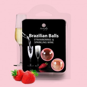 BOLAS LUBRICANTES BESABLES BRAZILIAN BALLS SABOR A FRESA CAVA 2 x 4GR