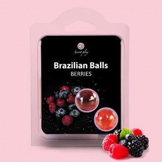 BOLAS LUBRIFICANTES BEIJÁVEIS BRAZILIAN BALLS SABOR A FRUTOS DO BOSQUE 2 x 4GR
