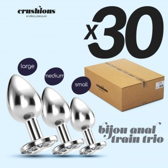PACK OF 30 CRUSHIOUS BIJOU ANAL TRAIN TRIO CLEAR WITH FREE INDIVIDUAL BAGS
